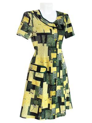 Трикотажный халат Тефия. Цвет: зеленый, желтый