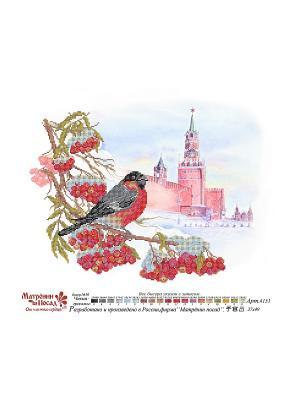 Рисунок на шелке Московская зима Матренин Посад. Цвет: красный