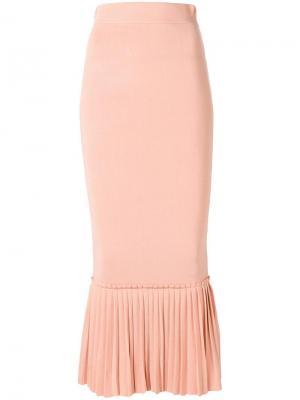 Облегающая юбка с расклешенным подолом Jonathan Simkhai. Цвет: розовый и фиолетовый