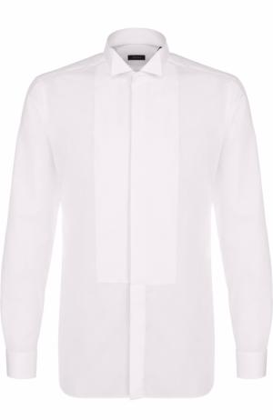 Хлопковая сорочка с воротником бабочка Z Zegna. Цвет: белый