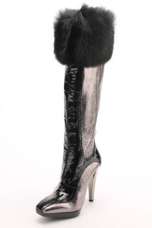 Сапоги Gerardina di Maggio. Цвет: серебряно-черный