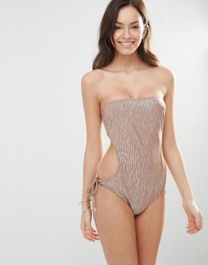 Melissa Odabash Блестящий слитный купальник с вырезом Amalfi. Цвет: мульти