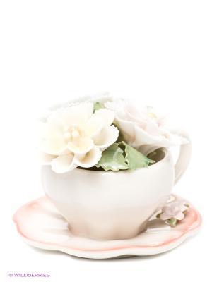 Композиция чаша Весенние цветы 8см (Pavone) Pavone. Цвет: белый, светло-голубой, бледно-розовый, светло-желтый