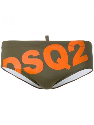 Плавки с принтом логотипа Dsquared2. Цвет: зелёный
