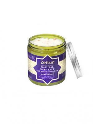 Морская соль для ванн Зейтун Антистрессовая, с маслами эвкалипта, лаванды и можевельника. Цвет: светло-бежевый