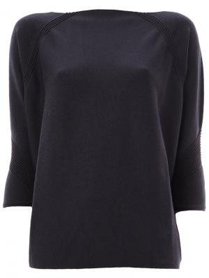 Кашемировая блузка с фактурной отделкой Maison Ullens. Цвет: синий