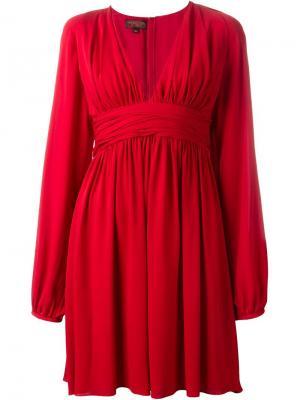 Платье с глубоким V-образным вырезом Giambattista Valli. Цвет: красный