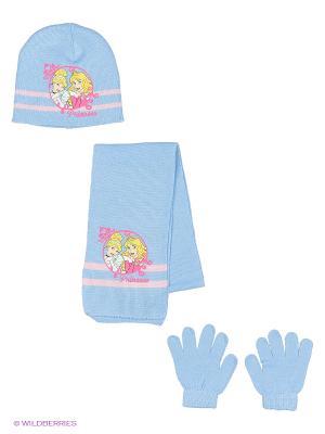 Комплект шапка, шарф, перчатки Sun City. Цвет: голубой
