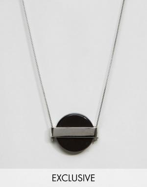DesignB London Серебристое ожерелье с подвеской в виде круглого камня эксклюз. Цвет: серебряный