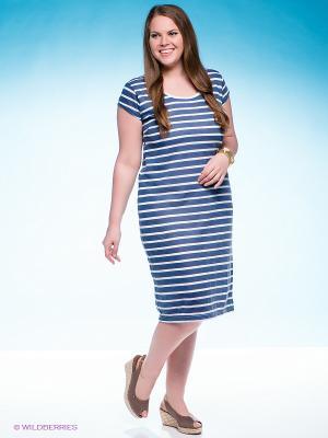 Платье VILATTE. Цвет: синий, белый