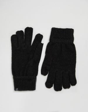 Plush Перчатки для смартфона цвета металлик. Цвет: черный