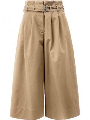 Укороченные широкие брюки Maison Margiela. Цвет: коричневый