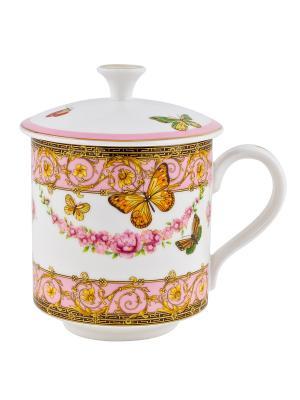 Кружка фарфоровая с крышкой Italy Design Elff Ceramics. Цвет: розовый