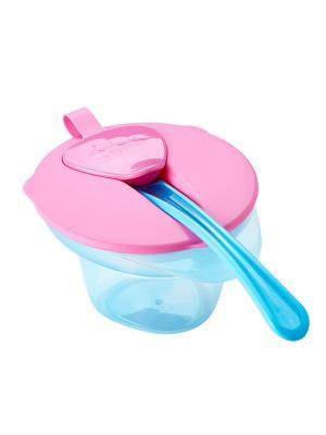 Тарелочка с отделением для охлаждения и разминания пищи крышкой ложечкой. TOMMEE TIPPEE. Цвет: голубой, розовый