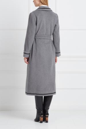 Шерстяное  пальто LAROOM. Цвет: серый