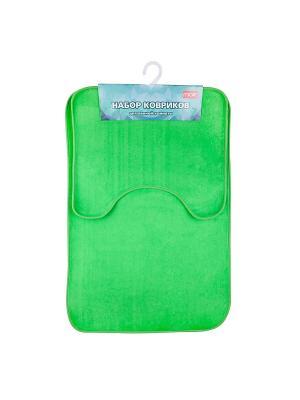 Набор ковриков в ванную Miolla. Цвет: зеленый