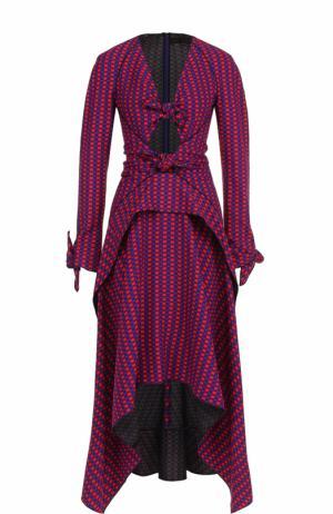 Приталенное платье асимметричного кроя в клетку Proenza Schouler. Цвет: красный