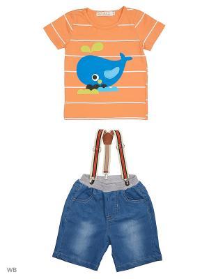 Шорты с подтяжками и футболка HLT. Цвет: оранжевый, синий, голубой