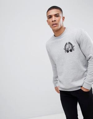 Versace Jeans Серый свитшот с вышивкой в виде джунглей и тигра. Цвет: серый
