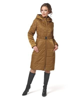 Стеганое пальто DizzyWay. Цвет: горчичный