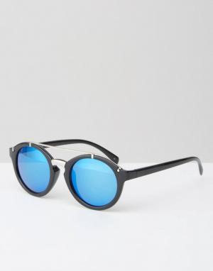 Jeepers Peepers Черные круглые солнцезащитные очки с планкой сверху и зеркальными стек. Цвет: черный