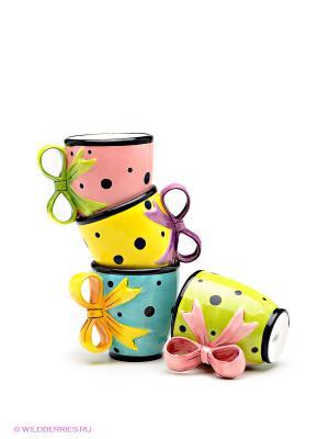 Набор чашек Бантик Pavone. Цвет: салатовый, голубой, розовый, желтый