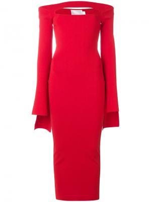 Длинное платье с приспущенными плечами Solace London. Цвет: красный