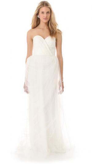 Вечернее платье с глубоким вырезом в форме сердца Stars Love, Yu. Цвет: оттенок белого