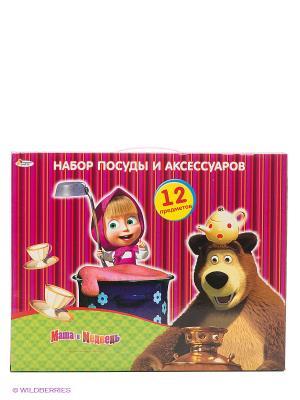 Набор посуды Маша и Медведь Играем вместе. Цвет: фуксия