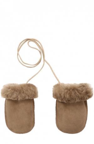 Кожаные варежки с отделкой мехом Petit Nord. Цвет: светло-бежевый