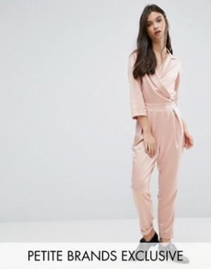 Alter Petite Комбинезон в строгом стиле с глубоким вырезом и завязкой. Цвет: розовый