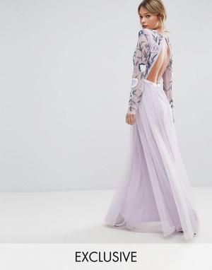 Frock and Frill Платье макси с вышивкой, юбкой из тюля и открытой спиной Fri. Цвет: мульти