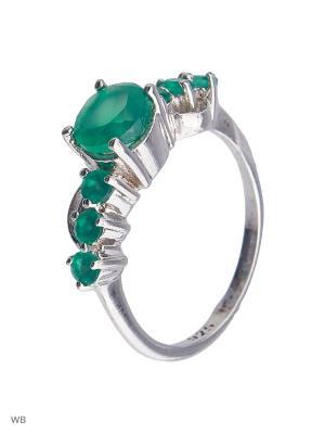 Кольцо Митра Ювелир. Цвет: зеленый, серебристый