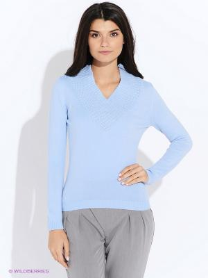 Пуловер Oodji. Цвет: голубой