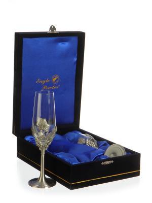 Подарочный набор для шампанского  Груздья Винограда Eagle Pewter. Цвет: серебристый
