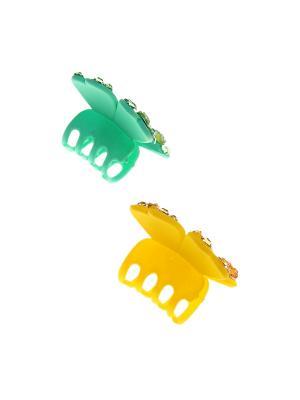 Заколка-краб (2 шт.) Happy Charms Family. Цвет: зеленый, желтый