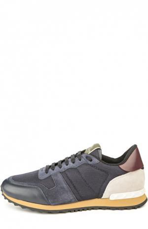 Замшевые кроссовки с шипами Valentino. Цвет: фиолетовый
