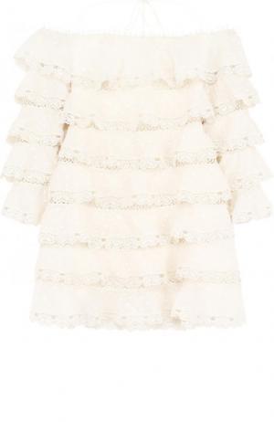 Многоярусное мини-платье с открытыми плечами Zimmermann. Цвет: кремовый