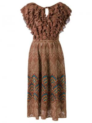 Ruffled knit dress Gig. Цвет: коричневый