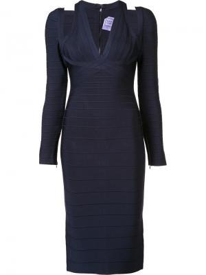 Приталенное платье с вырезными деталями Hervé Léger. Цвет: синий