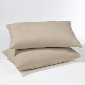 Комплект из 2 чехлов для подушек поликоттона La Redoute Interieurs. Цвет: бежевый,гранатовый,серый жемчужный,сине-зеленый,синий индиго,темно-серый,экрю