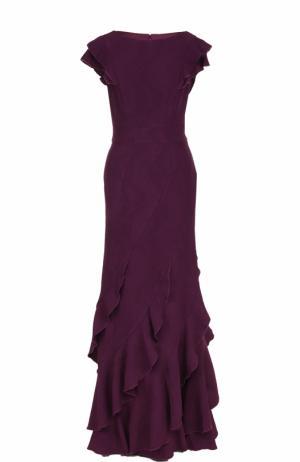Приталенное платье-макси с оборками Tadashi Shoji. Цвет: темно-фиолетовый