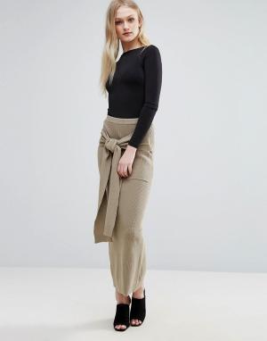 ADPT Трикотажная юбка макси в рубчик Lounge. Цвет: коричневый