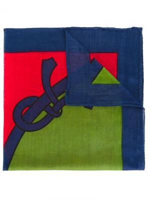 Нагрудный платок дизайна колор-блок Roberta  Di Camerino Vintage. Цвет: синий