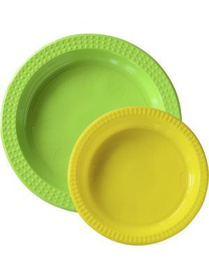 Тарелки пластиковые, 22см и 17см, 10+10 шт, Зеленый Желтый DUNI. Цвет: зеленый