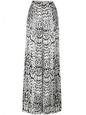 Широкие брюки с леопардовым принтом Adam Lippes. Цвет: чёрный
