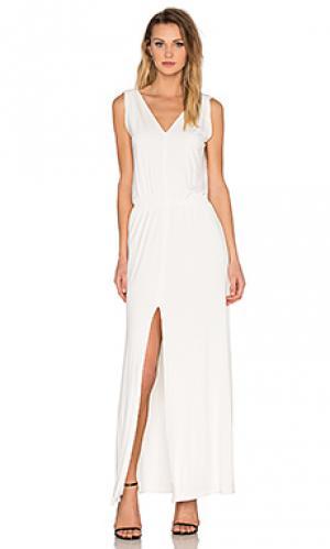 Макси платье с разрезом и v-образным поясом BLQ BASIQ. Цвет: ivory