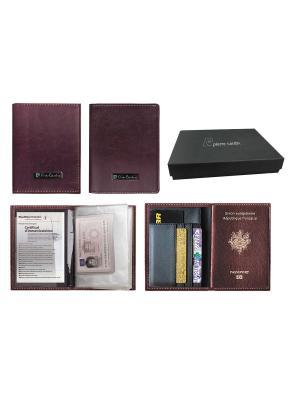 Набор Pierre Cardin: обложка для паспорта и водитительского удостоверения, бордовый Cardin. Цвет: бордовый