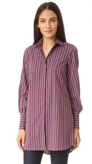 Рубашка в мужском стиле Caroline Constas. Цвет: бордовый мульти