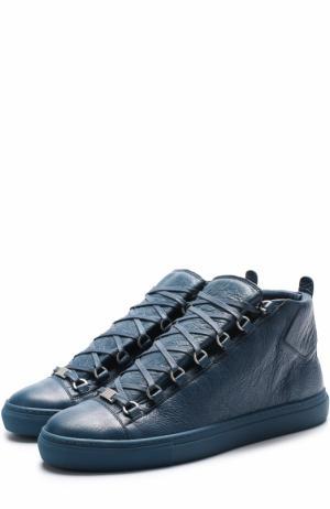 Высокие кожаные кеды на шнуровке Balenciaga. Цвет: синий